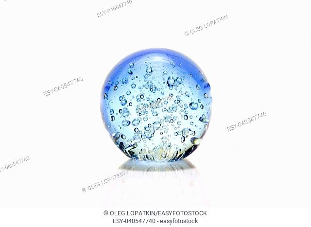 Blue glass bowl with bubbles