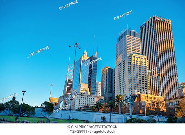 Sydney city skyline at Macquarie Street
