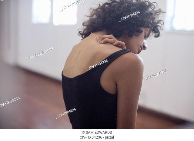 Sensual young female dancer in dance studio
