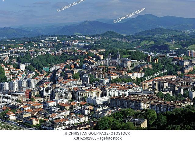 view from the Monte Igeldo, San Sebastian, Bay of Biscay, province of Gipuzkoa, Basque Country, Spain, Europe