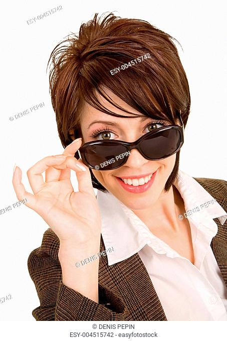 Beautiful Brunette Looking Over Sunglasses