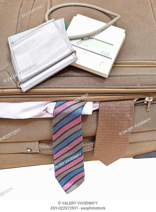 above view of sphygmometer on suitcase with ties