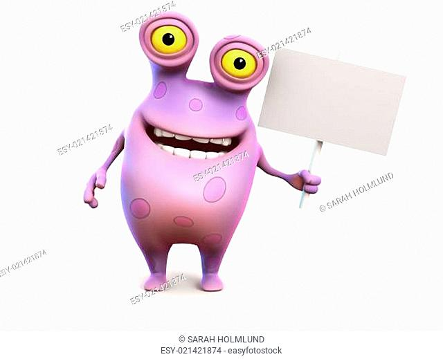 A pink spotted monster holding sign