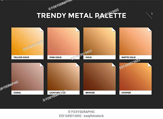 Gold, copper and bronze gradient template. Collection palette of colorful metallic gradient illustrations for backgrounds and textures