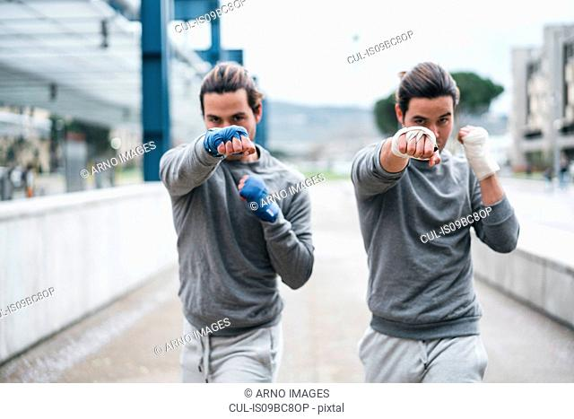 Identical male adult twin boxers training outdoors, fighting stance portrait