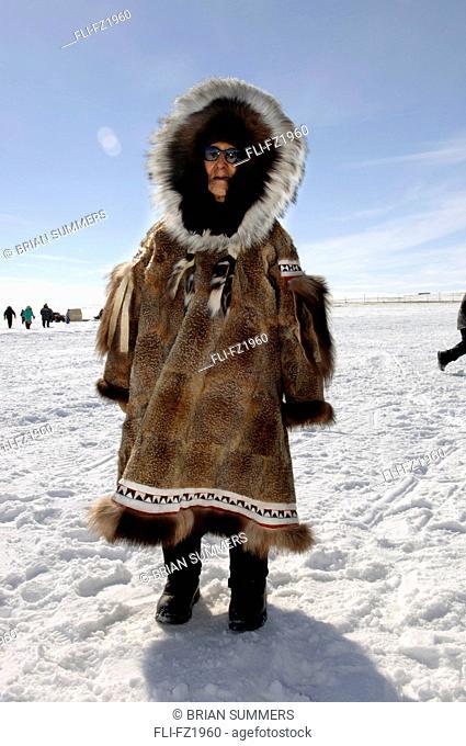 Elder in Fur Parka outside, Cambridge Bay, Nunavut