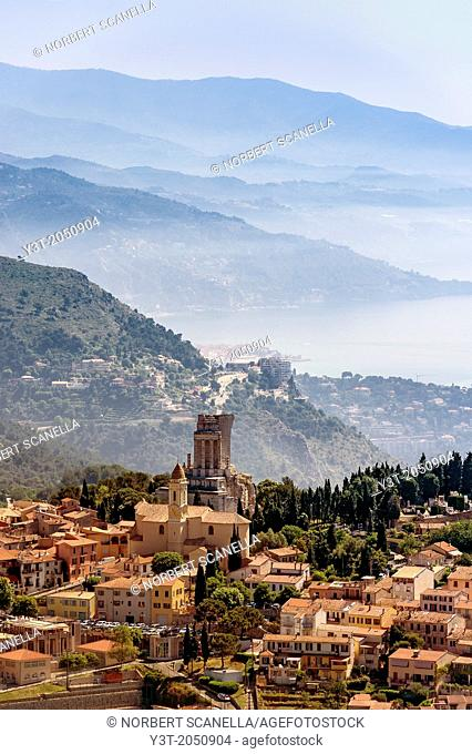 Europe, France, Alpes-Maritimes. The village of La Turbie, and the Trophy of the Alps