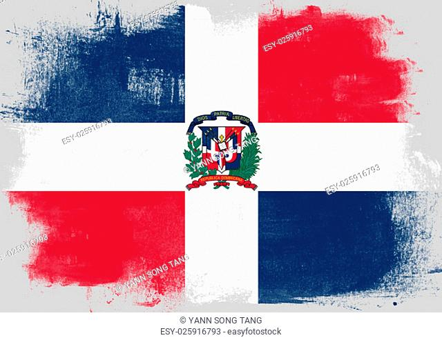 Flag of Dominican Republic painted with brush on solid background