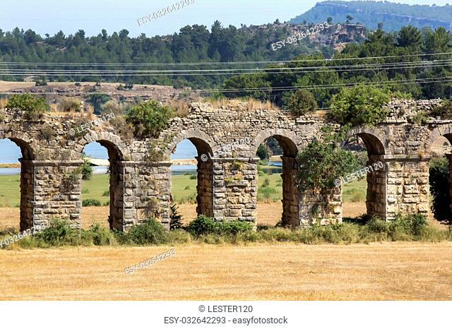 Ruins of ancient aqueduct Ancient Rome Anatolia region, the current territory of Turkey