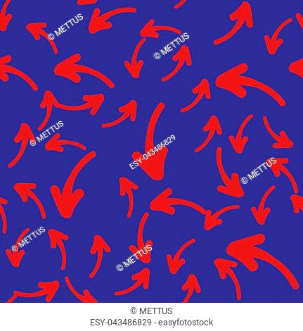 Vector seamless pattern with hand-drawn arrows on blue background. Seamless background with red arrows
