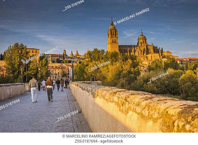 Roman bridge over the river tormes, in the background, the old town of Salamanca at sunset. Salamanca, Castilla y Leon, Spain, Europe