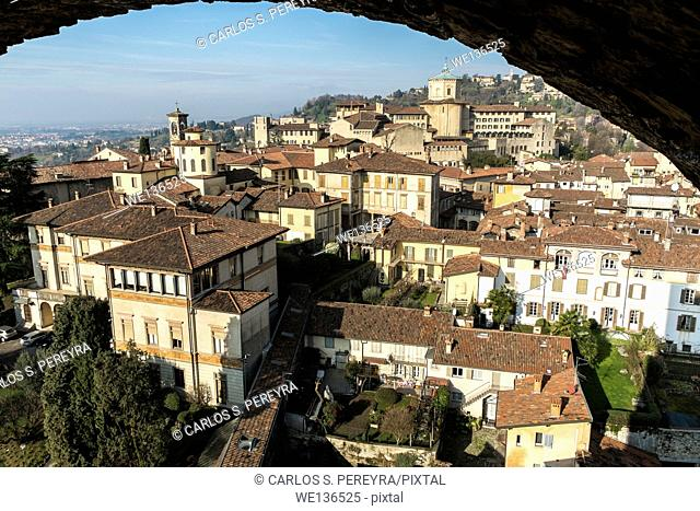 Panoramic of Bergamo upper city, Italy, Italy