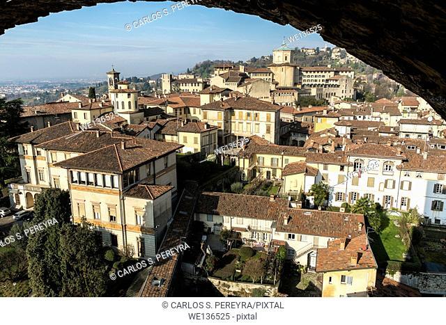 Panoramic of Bergamo upper city, Italy, Italy