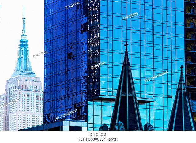 USA, New York, Glass office buildings