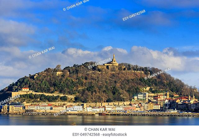 Landscape view from Izaburu Kalea of the Old Town and mount Urgull in San Sebastian, Spain