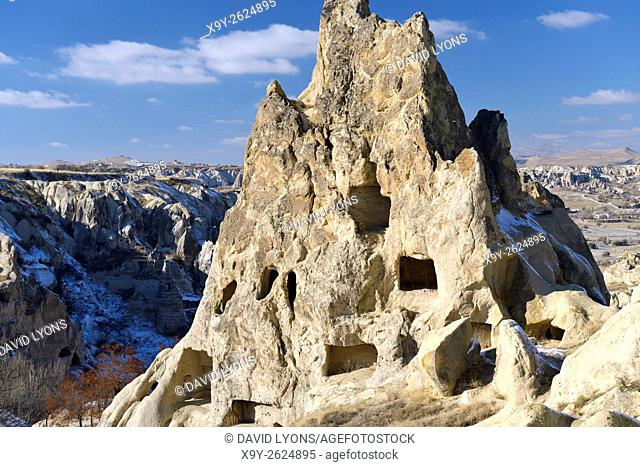 Eroded volcanic tuff early Christian nunnery troglodyte cave dwelling in Goreme Open Air Museum National Park, Cappadocia Turkey
