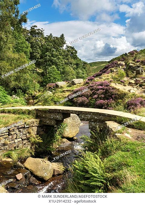 Bronte Bridge over South Dean Beck on Haworth Moor in Summer Haworth West Yorkshire England