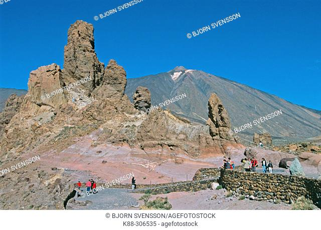 Roques de Garcia with mount Teide in background. Tenerife, Canary Islands. Spain