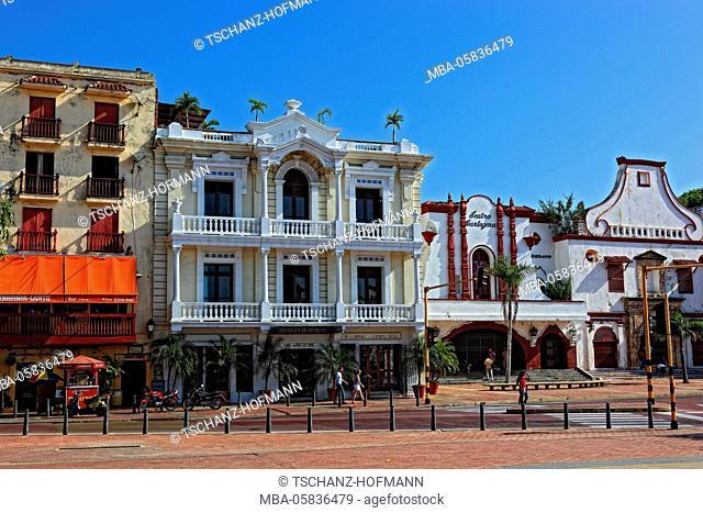 Republic Colombia, Departamento Bolivar, city of Cartagena de Indias, houses in the Camellon de los Martires, Paseo de los Martires