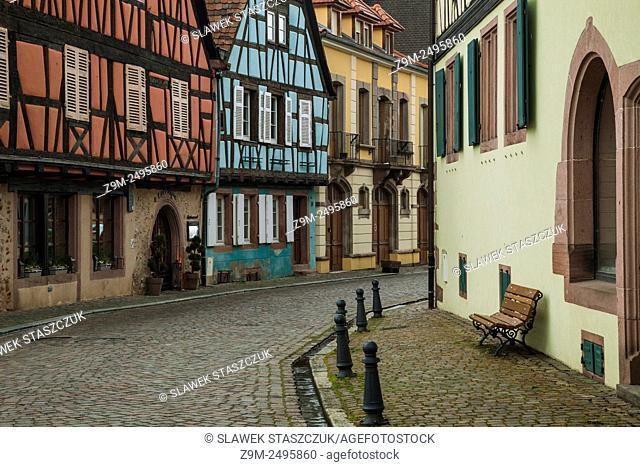 Colourful houses in Kientzheim, Alsace, France
