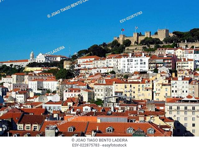 View over the Castle hill and the downtown, Lisbon, Portugal