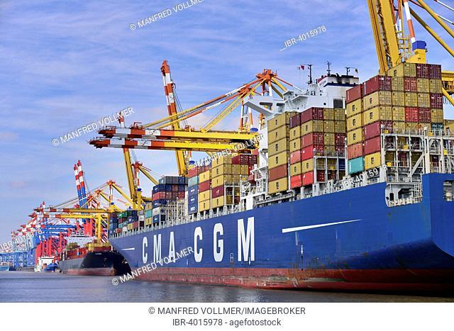 Container ship and gantry cranes, Stromkaje quay, Wilhelm Kaisen Terminal, Container Terminal Bremerhaven, Bremerhaven, Bremen, Germany