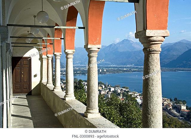Pilgrimage church Madonna del Sasso and Lago Maggiore, Locarno, Ticino, Switzerland