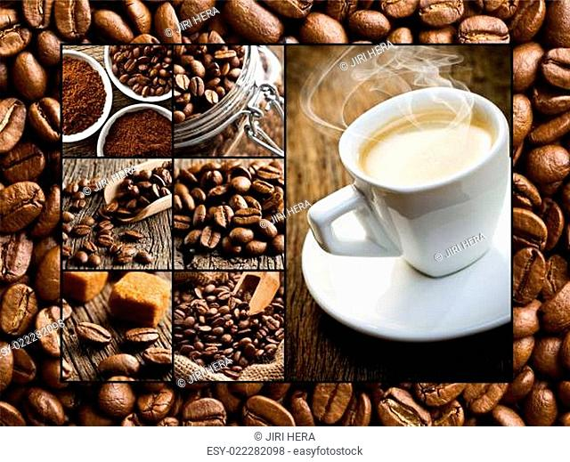 collage of different coffee motifs