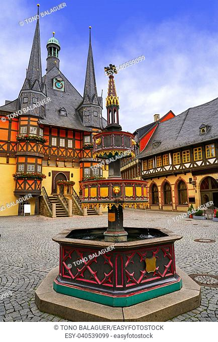 Wernigerode Rathaus Stadt city hall in Harz Germany