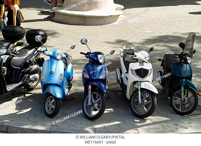Parked mopeds, Barcelona, Spain