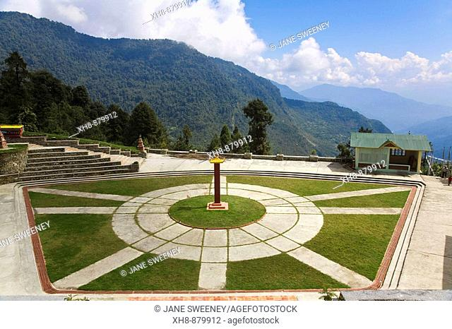 India, Sikkim, Ravangla Rabongla, Karma Theckhling Monastery - a new monastery - made in traditional Sikkim style of stone and mud with Eight corners