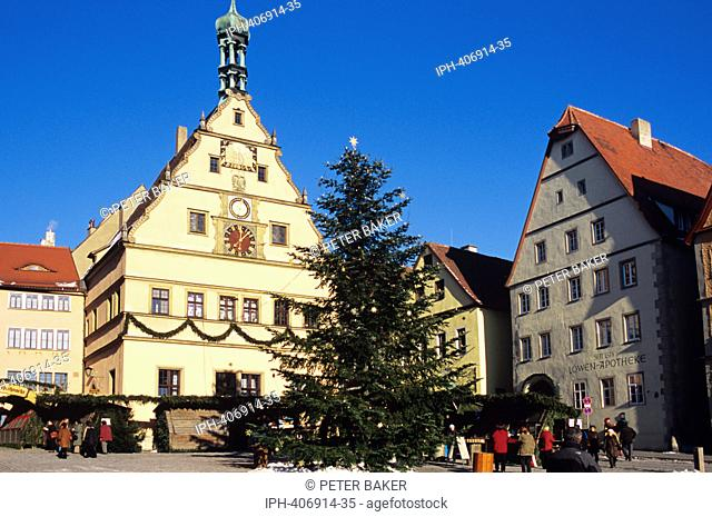 Christmas tree in the square of the picturesque medieval walled town of Rothenburg