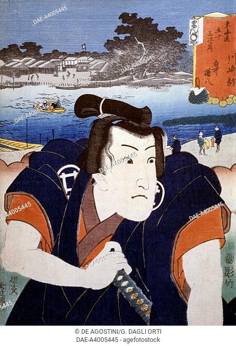 Portrait of a Kabuki theatre actor in front of Mount Fuji, ukiyo-e art print by Utagawa Toyokuni (1769-1825), woodcut. Japanese civilisation, Edo period
