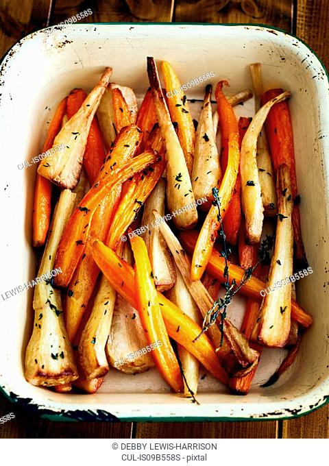 Tray of roasted carrots and parsnips