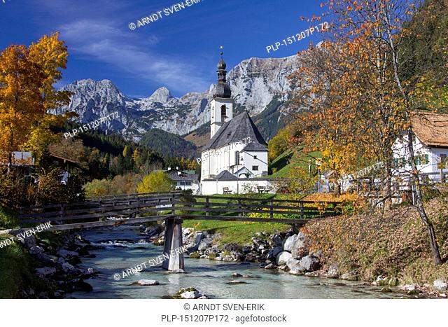 Church of St. Sebastian, with the Reiter Alpe in background in autumn at Ramsau, Berchtesgaden, Bavaria, Germany