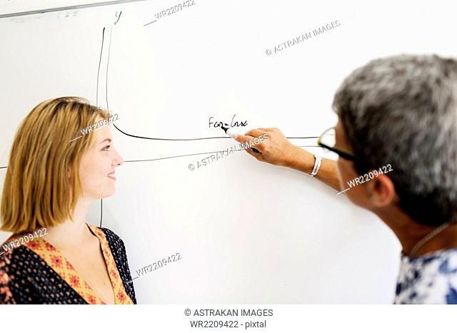 Female student watching professor writing on whiteboard in classroom