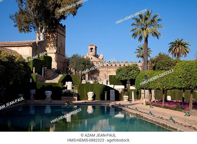 Spain, Andalousia, Cordoba, historical center listed as World Heritage by UNESCO, the gardens of the Alcazar de los Reyes Cristianos
