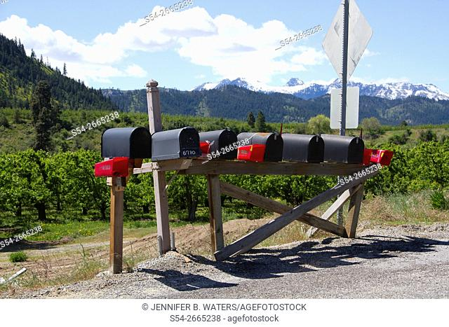Rural mailboxes in Leavenworth, Washington, USA