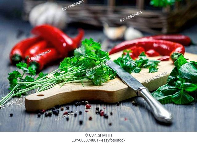 Fresh chopped parsley and red pepper
