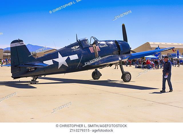 A WW2 USN Grumman F6F Hellcat fighter plane at the Tucson airshow in Arizona