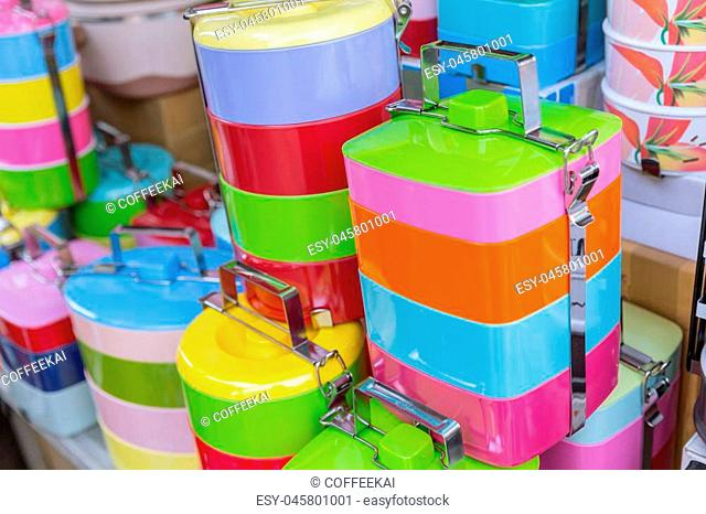 Tiffin box or food carrier stack colorful BPA plastic safety food containing materials sale in Thailand