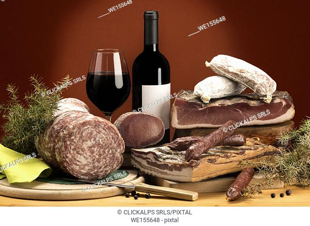 Still life, mixed salami, typical products, red wine, Trentino, AltoAdige, Dolomites, food,