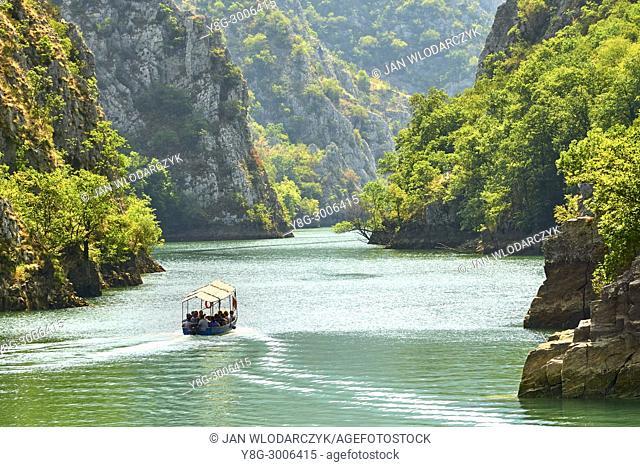 Speed motor boat on the lake, Matka Canyon, Macedonia