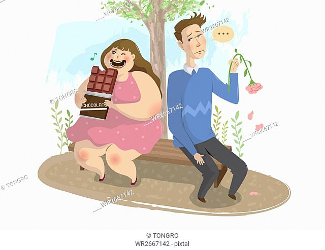 Fat woman eating chocolate and a man disappointed with her