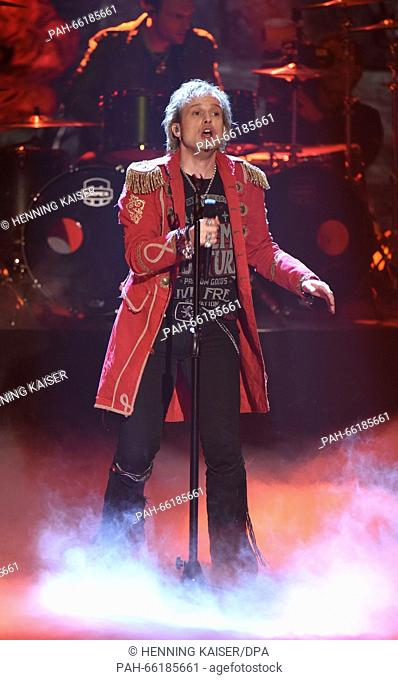 Singer Tobias Sammet of music project Avantasia competes for the national preliminary decision for the 61st Eurovision Song Contest (ESC) in Cologne, Germany