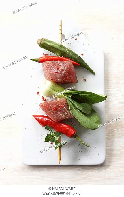 Tuna Kebab with vegetable, elevated view