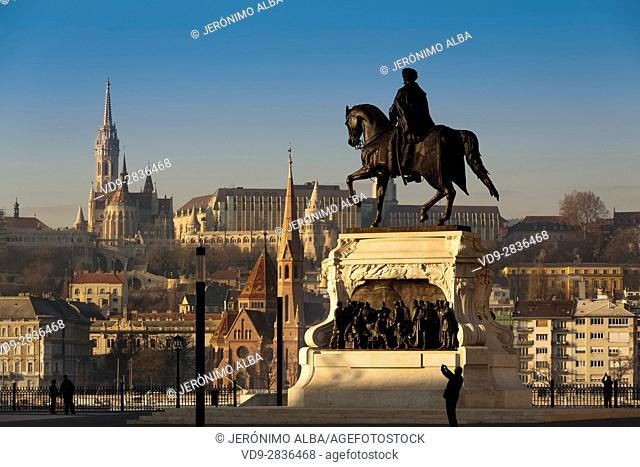 Count Gyula Andrássy statue, Castle District skyline. Budapest Hungary, Southeast Europe