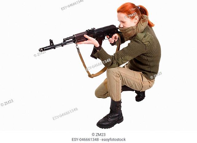 girl mercenary with ak-47 rifle with kalashnikov rifle isolated on white background