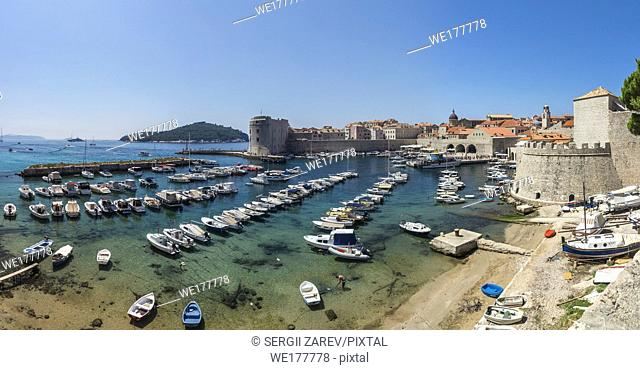 Panoramic view of the Old Port in Dubrovnik, Croatia, in a sunny summer day