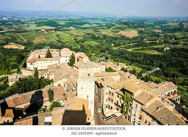town of San Gimignano and landscape, panorama,Tuscany, Italy